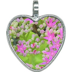 Hot Pink Succulent Sedum With Fleshy Green Leaves Heart Necklace by myrubiogarden