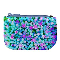 Blue And Hot Pink Succulent Sedum Flowers Detail Large Coin Purse