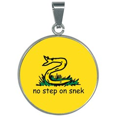 No Step On Snek Gadsden Flag Meme Parody 30mm Round Necklace