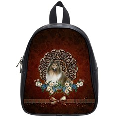 Cute Collie With Flowers On Vintage Background School Bag (small)