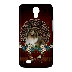 Cute Collie With Flowers On Vintage Background Samsung Galaxy Mega 6 3  I9200 Hardshell Case by FantasyWorld7