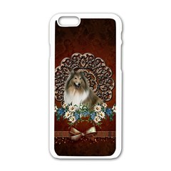 Cute Collie With Flowers On Vintage Background Apple Iphone 6/6s White Enamel Case by FantasyWorld7