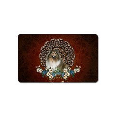 Cute Collie With Flowers On Vintage Background Magnet (name Card) by FantasyWorld7