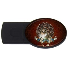 Cute Collie With Flowers On Vintage Background Usb Flash Drive Oval (2 Gb)