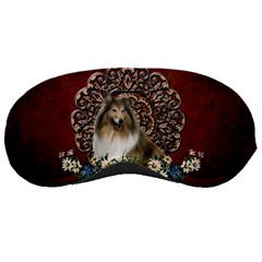 Cute Collie With Flowers On Vintage Background Sleeping Masks by FantasyWorld7