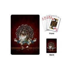 Cute Collie With Flowers On Vintage Background Playing Cards (mini) by FantasyWorld7