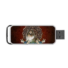 Cute Collie With Flowers On Vintage Background Portable Usb Flash (two Sides)