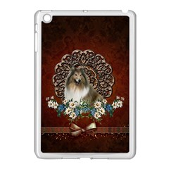 Cute Collie With Flowers On Vintage Background Apple Ipad Mini Case (white) by FantasyWorld7