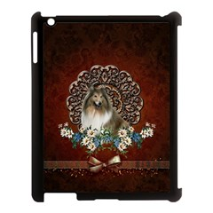 Cute Collie With Flowers On Vintage Background Apple Ipad 3/4 Case (black)