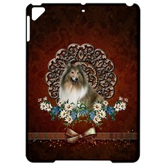 Cute Collie With Flowers On Vintage Background Apple Ipad Pro 9 7   Hardshell Case