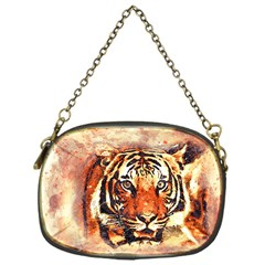 Tiger Portrait Art Abstract Chain Purse (one Side)