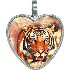 Tiger Portrait Art Abstract Heart Necklace
