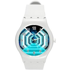 Space Ship Sci Fi Fantasy Science Round Plastic Sport Watch (m)
