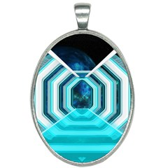 Space Ship Sci Fi Fantasy Science Oval Necklace