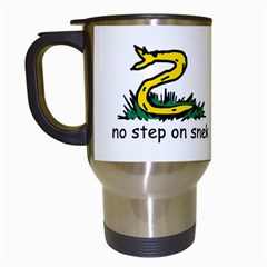 No Step On Snek Gadsden Flag Meme Parody On White Background Travel Mugs (white)