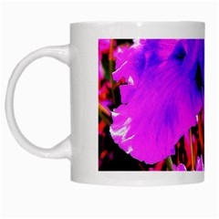 Abstract Ultra Violet Purple Iris On Red And Pink White Mugs