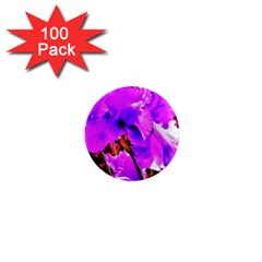 Abstract Ultra Violet Purple Iris On Red And Pink 1  Mini Magnets (100 Pack)