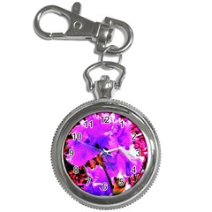Abstract Ultra Violet Purple Iris On Red And Pink Key Chain Watches by myrubiogarden