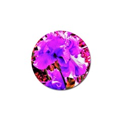 Abstract Ultra Violet Purple Iris On Red And Pink Golf Ball Marker (4 Pack) by myrubiogarden