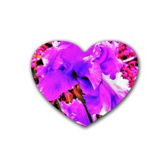 Abstract Ultra Violet Purple Iris On Red And Pink Heart Coaster (4 Pack)