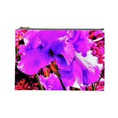 Abstract Ultra Violet Purple Iris On Red And Pink Cosmetic Bag (large)