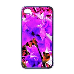 Abstract Ultra Violet Purple Iris On Red And Pink Apple Iphone 4 Case (black)