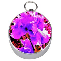 Abstract Ultra Violet Purple Iris On Red And Pink Silver Compasses by myrubiogarden