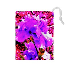 Abstract Ultra Violet Purple Iris On Red And Pink Drawstring Pouch (large) by myrubiogarden