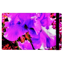 Abstract Ultra Violet Purple Iris On Red And Pink Apple Ipad Pro 12 9   Flip Case by myrubiogarden