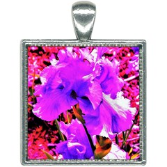 Abstract Ultra Violet Purple Iris On Red And Pink Square Necklace