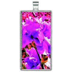 Abstract Ultra Violet Purple Iris On Red And Pink Rectangle Necklace