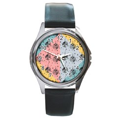 Abstract Christmas Balls Pattern Round Metal Watch by Mariart