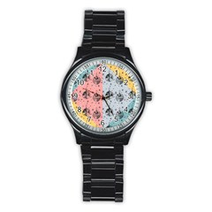 Abstract Christmas Balls Pattern Stainless Steel Round Watch