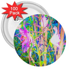 Abstract Oriental Lilies In My Rubio Garden 3  Buttons (100 Pack)