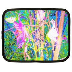 Abstract Oriental Lilies In My Rubio Garden Netbook Case (large)