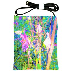 Abstract Oriental Lilies In My Rubio Garden Shoulder Sling Bag by myrubiogarden