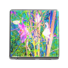 Abstract Oriental Lilies In My Rubio Garden Memory Card Reader (square 5 Slot)