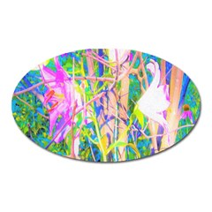 Abstract Oriental Lilies In My Rubio Garden Oval Magnet