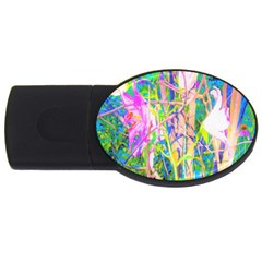 Abstract Oriental Lilies In My Rubio Garden Usb Flash Drive Oval (2 Gb)