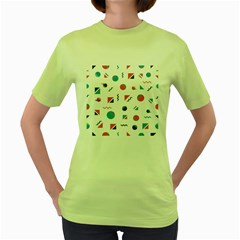 Round Triangle Geometric Pattern Women s Green T Shirt