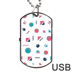Round Triangle Geometric Pattern Dog Tag Usb Flash (two Sides)