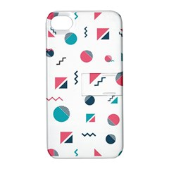 Round Triangle Geometric Pattern Apple Iphone 4/4s Hardshell Case With Stand