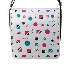 Round Triangle Geometric Pattern Flap Closure Messenger Bag (l)