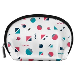 Round Triangle Geometric Pattern Accessory Pouch (large)