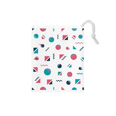 Round Triangle Geometric Pattern Drawstring Pouch (small)
