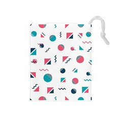 Round Triangle Geometric Pattern Drawstring Pouch (medium)