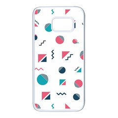 Round Triangle Geometric Pattern Samsung Galaxy S7 White Seamless Case