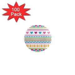 Geometry Line Shape Pattern 1  Mini Magnets (100 Pack)