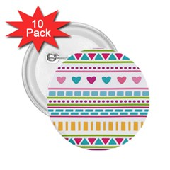 Geometry Line Shape Pattern 2 25  Buttons (10 Pack)