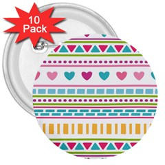 Geometry Line Shape Pattern 3  Buttons (10 Pack)